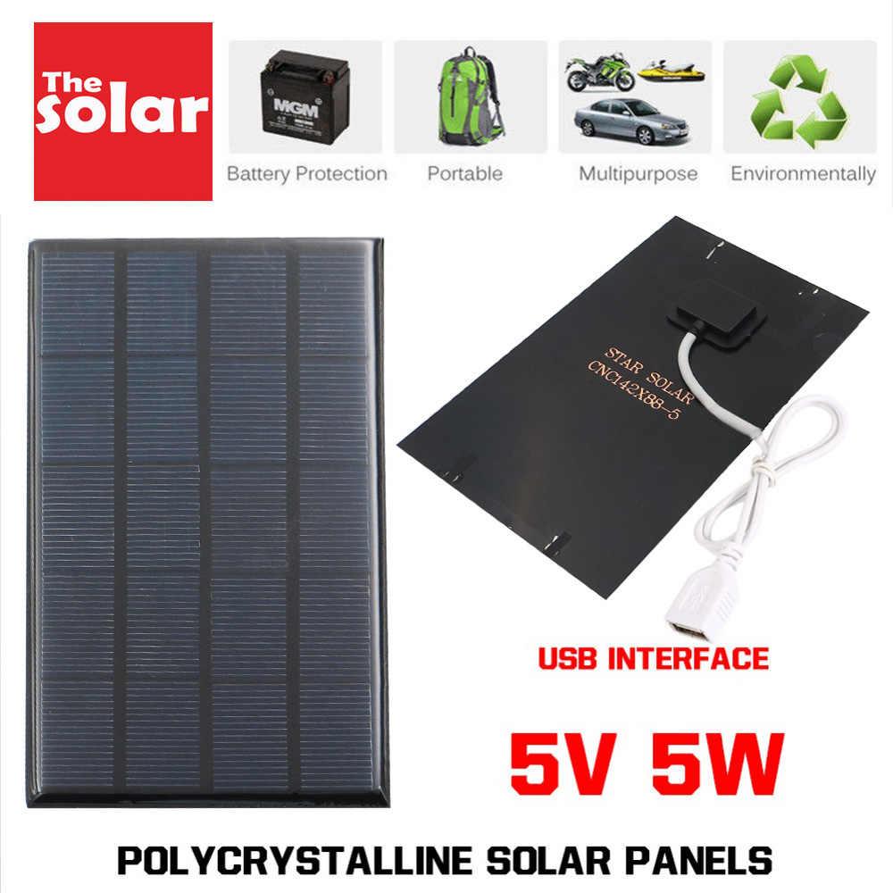 USB Panel Solar al aire libre 5W 5V Cargador Solar portátil Panel escalada cargador rápido de polisilicio Tablet generador Solar de viaje
