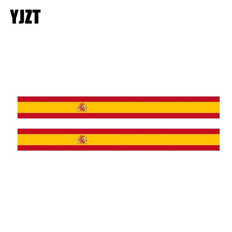 YJZT 2X 17.3CM*1.9CM Personality Stripe Spain Flag Car Sticker Window Decal 6-1159