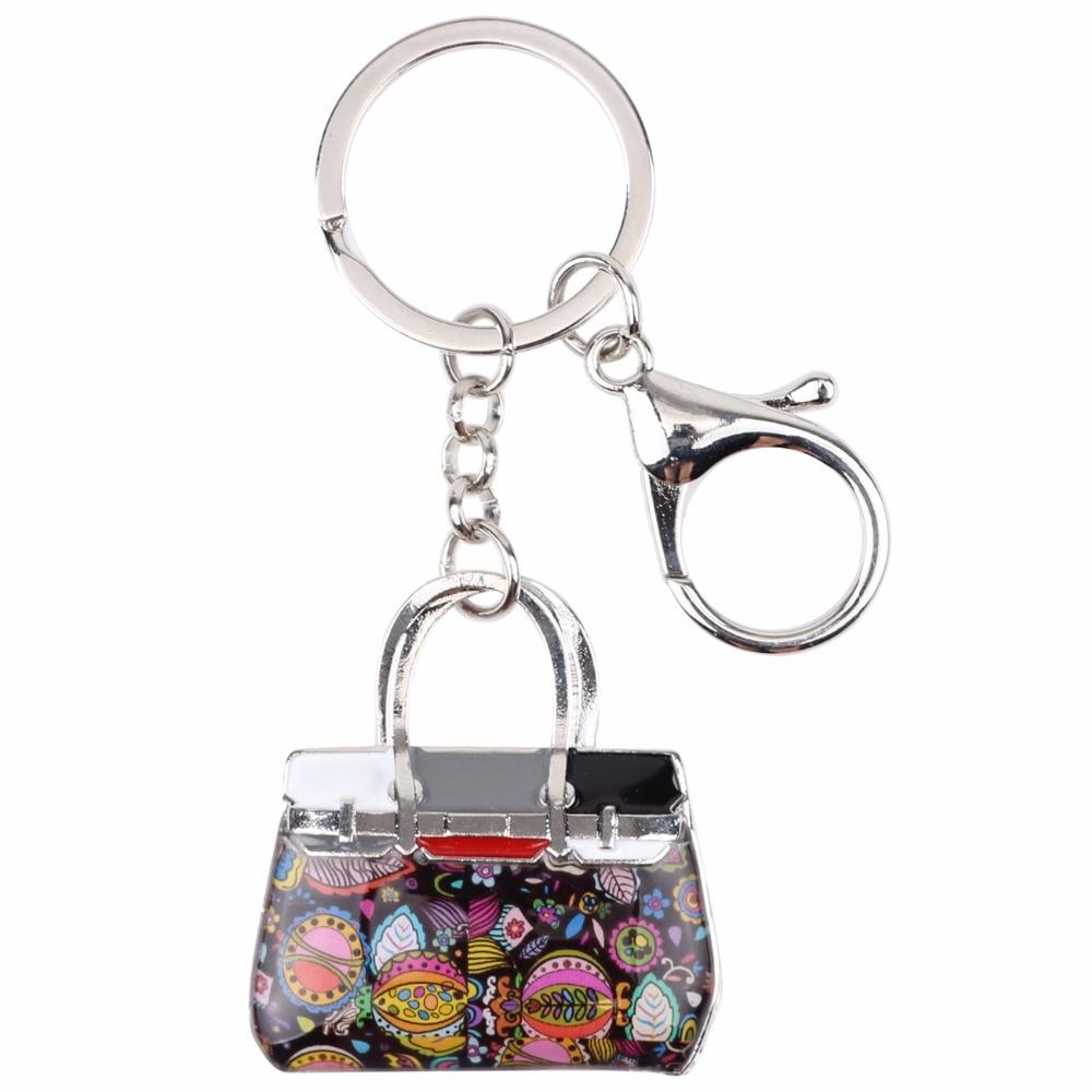 Bonsny emali seos kukallinen käsilaukku avainketju avainniput rengas - Muotikorut - Valokuva 4