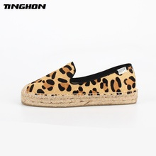 TINGHON 2019 Luxury  Horsehair Women Loafers Thickened Platform Plats Polka Dot Quality Espadrille Sexy Leopard Zapatos Mujer