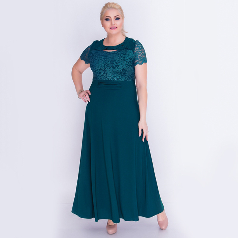 New Red Green Fashion Elegant Lace Dress Large Size 5XL Celebrities Party Dresses Women Summer Plus Size Long Dress Vestidos 6XL