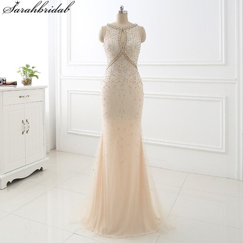 2017 champagner meerjungfrau lange abendkleider vestido longo de mantel mieder kristall perlen party kleider robe de soiree ls355