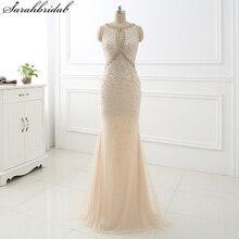Champagne Mermaid Long Evening Dresses vestido longo de Sheath Bodice Crystal Beaded Party Gowns Robe De Soiree LSX355