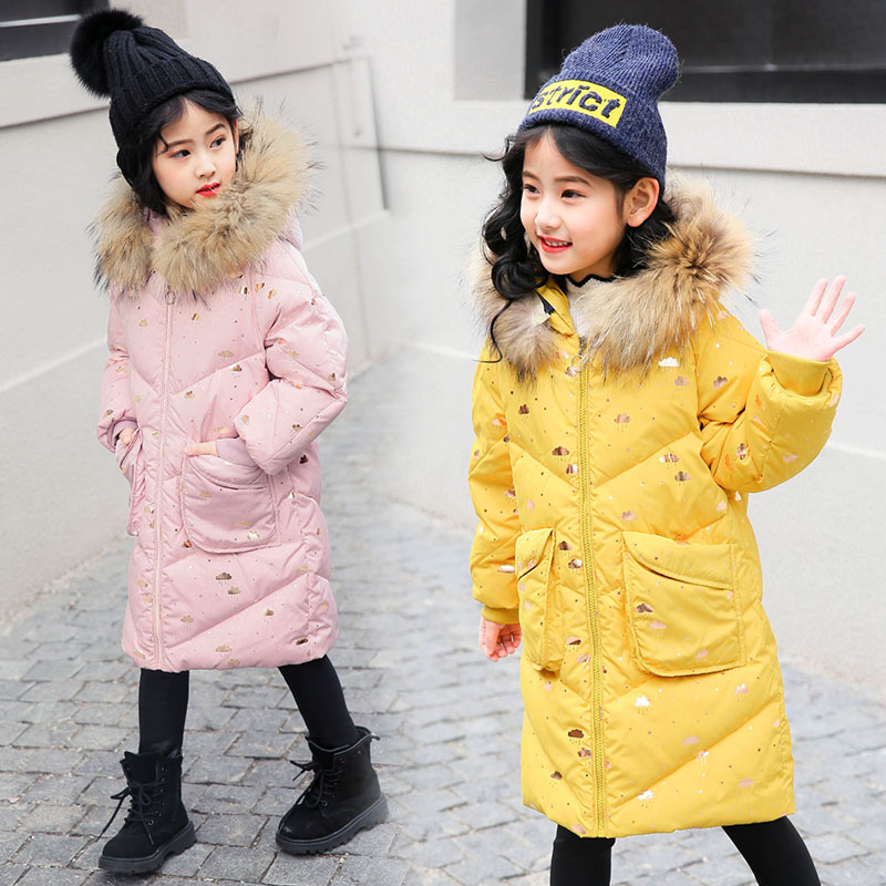 Girls Winter Warm Down Jackets 2018 Teenage Girl Hooded Fur Collar Down Coat Fashion Clothes Kids Parkas Outerwear For Girls girls parkas kids clothes winter outerwear girls hooded overcoat thicken warm long coat girl faux fur collar parkas age 3 13 y