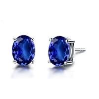 Jade Angel 18K Gold Oval Cut Tanzanite Stud Earrings for Women Wedding Jewelry