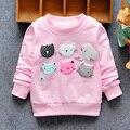 2016 Nueva Llegada de los Bebés Sudaderas Invierno Otoño Primavera suéter 6 Gatos de dibujos animados de manga larga T-shirt niños ropa Carácter