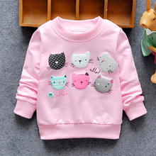 2017 New Arrival Baby Girls Sweatshirts Winter Spring Autumn sweater cartoon 6 Cats long sleeve T-shirt Character kids clothes