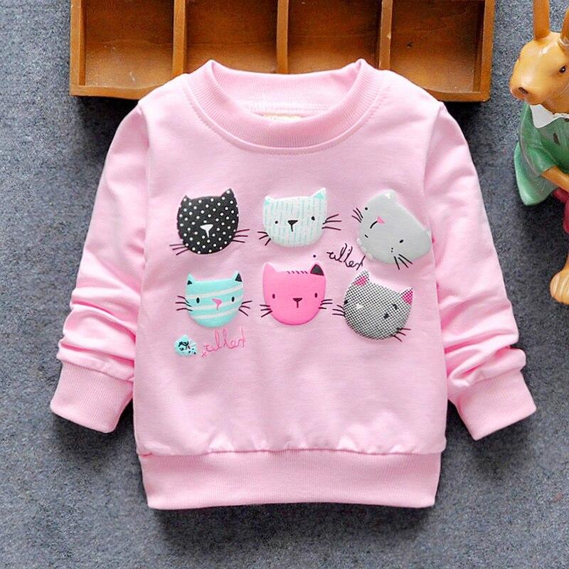 2018 הגעה חדשה תינוק בנות חולצות חורף אביב סתיו ילדי נים 6 חתולים ארוך שרוולים סוודר ילדי חולצה בגדים