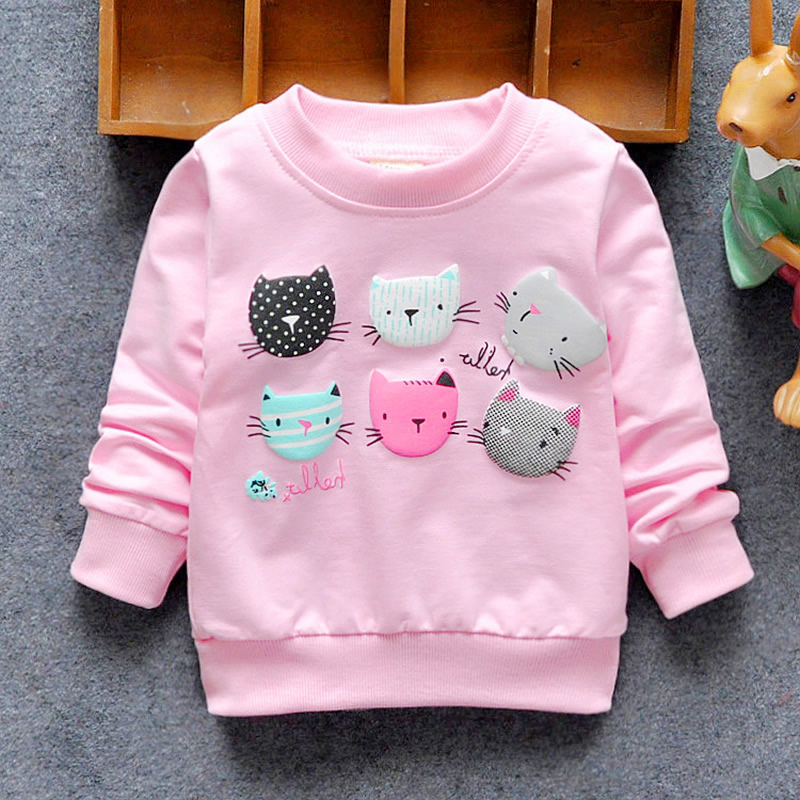 2016 New Arrival Baby Girls Sweatshirts Winter Spring Autumn sweater cartoon 6 Cats long sleeve T-shirt Character kids clothes