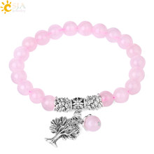 CSJA Reiki Pink Quartz Diffuser Bracelet Natural Crystal Gem Stone Mala Beads Tree of Life Charms Meditation Ethnic Jewelry E723(China)