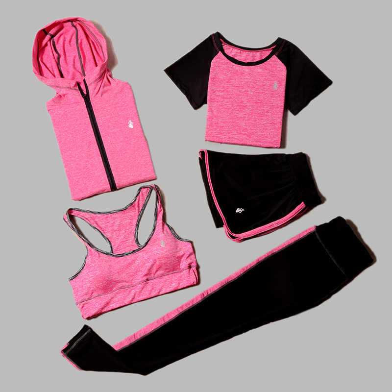 5 Piece Set Yoga For Women Wear Bra Performance Fitness Sports Women's T-Shirt For Fitness Clothing Training Set Sport Suit