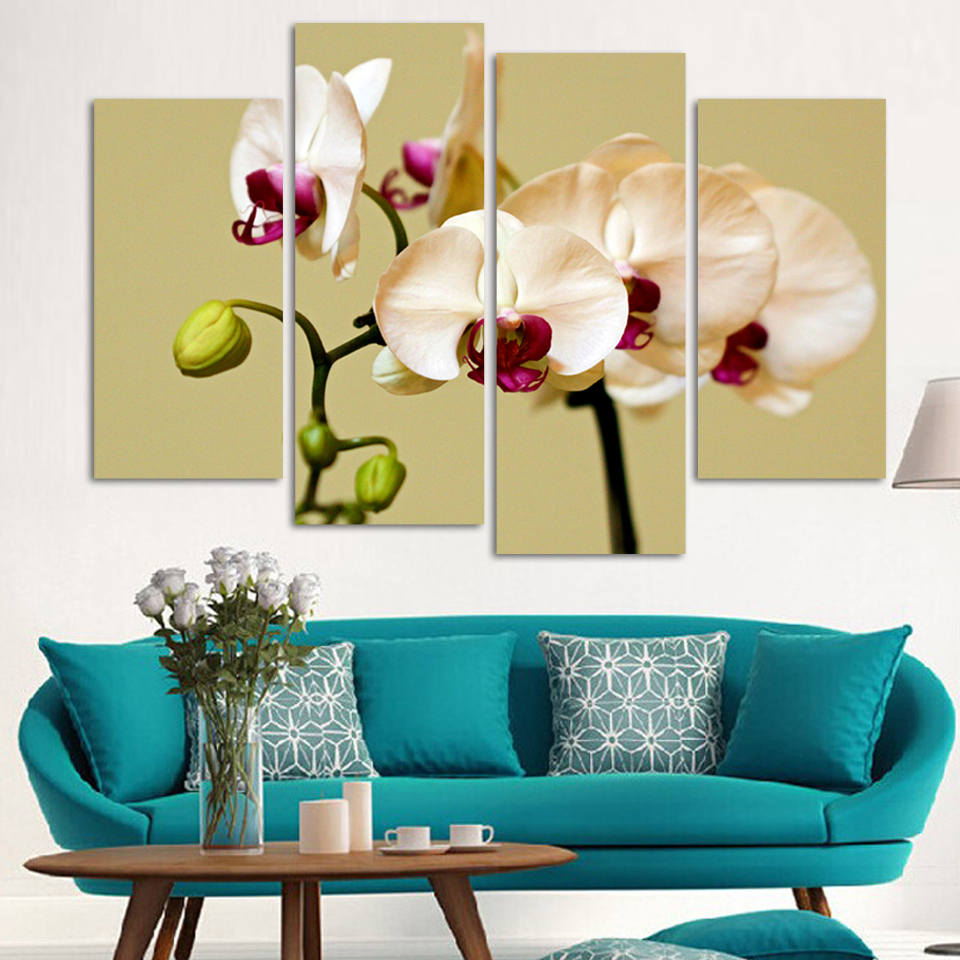 Original Oil Ink 4 Panels Canvas White Orchids Painting On Canvas ...
