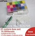 mini 3mm hama beads10,500pcs 21 colors box set PE perler beads active iron artkal beads wholesale and retail