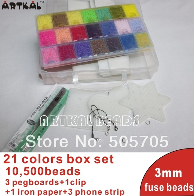 mini 3mm hama beads10,500pcs 21 colors box set PE perler beads active iron artkal beads wholesale and retail