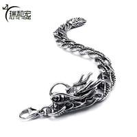 Vintage Black Titanium Steel Bracelet Chinese Dragon Model Men Charm Bracelets Ethnic Style Chic Jewelry
