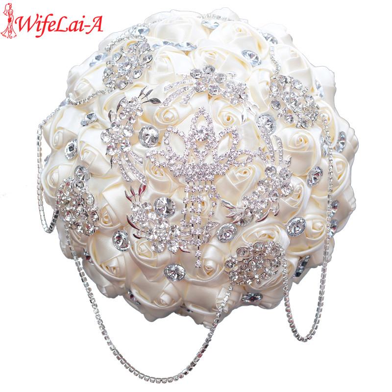 WifeLai A Stunning Ivory Rose Diamonds Tassels Stitch Wedding Bouquet Bridal Mariage Brooch Bouquet Flowers W2218