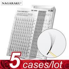 Nagaraku 5 Gevallen 3D 6D Premade Volume Fans Russische Volume Wimper Black Faux Mink Premium Wimper Toepassing Wimper Extension