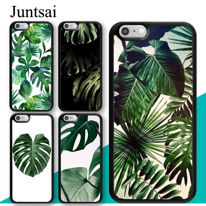 Juntsai Monstera Leaves Palm Tree Flowers Case For iPhone 7 6 6s Plus Rubber Cover For iPhone7 8 Plus X 5 5s SE Full Back Shell