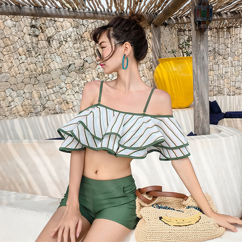 2018 The Women New Triangle Show Thin Falbala Fission Steel Supporting South Korea Small Chest Together Hot Spring Bathing Suit