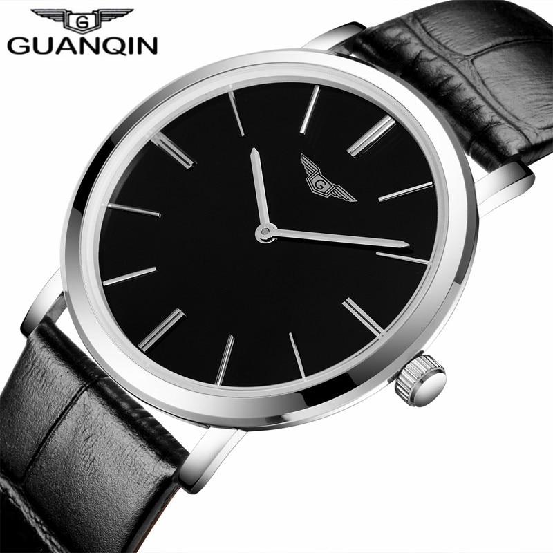лучшая цена relogio masculino Luxury Brand GUANQIN Simple Design Men Ultra Thin Quartz Watch Fashion Casual Leather Strap Male Wristwatch