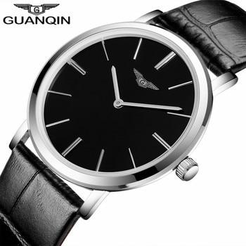 Mens Watch Leather Strap | Relogio Masculino Luxury Brand GUANQIN Simple Design Men Ultra Thin Quartz Watch Fashion Casual Leather Strap Male Wristwatch