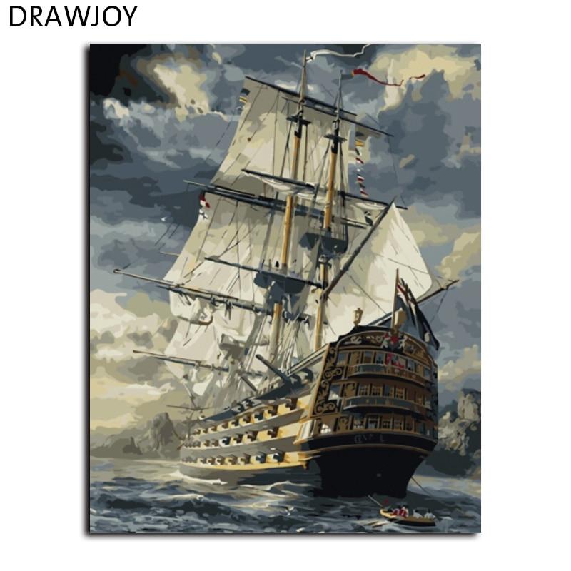 Seascape Frameless Foto Pittura di DIY Dai Numeri Pittura A Olio Su Tela di Arte Della Parete FAI DA TE Home Decor Per Soggiorno GX6923 40*50 cm