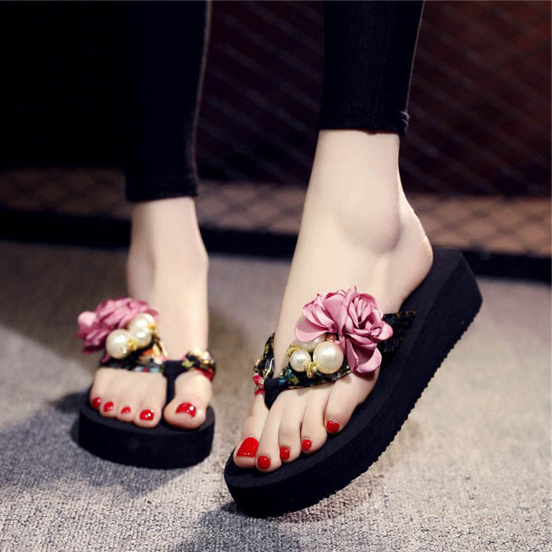 Women Sandals Flower Summer Slippers For Women Shoes Flip Flops Platform Shoes slippers zapatillas chinelo sandalia 2018 sandals women flower beading summer flip