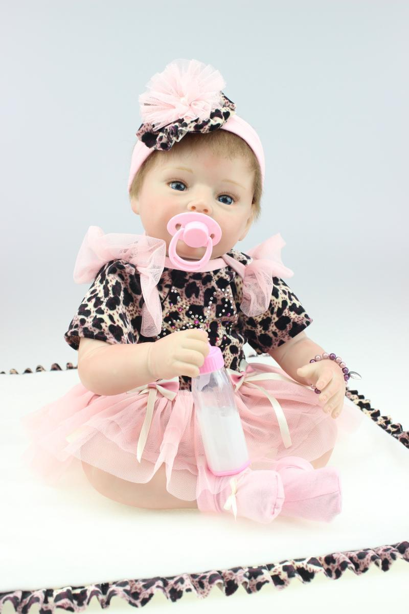 55cm Soft Body Silicone Reborn Baby Doll Toys 22 Lifelike Newborn Baby Dolls With Nipple Play House Toy Girls Brinquedos 55cm soft body silicone reborn baby dolls toy lifelike newborn boy babies doll play house toy collectable doll christmas gift