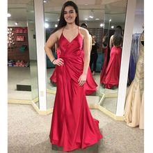 bfcd1e789c Sexy krzyż krzyż powrót czerwone suknie balowe dla kobiet Side splicie 2019  luksusowe Satin syrenka długi