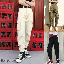2019 New cargo Pants Vintage High Waist Jeans new womens pants full length pants loose cowboy pants pockets casual denim ankle(China)