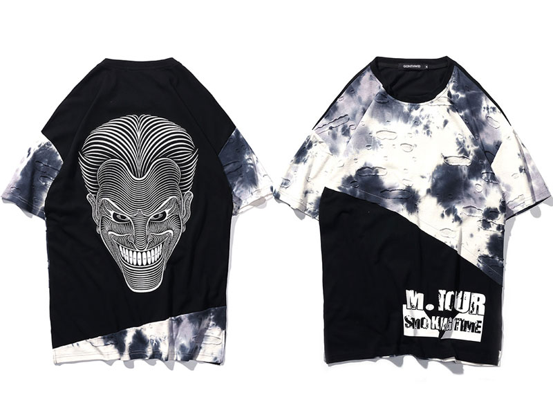 Tie Dye Ripped Patchwork T Shirts 5