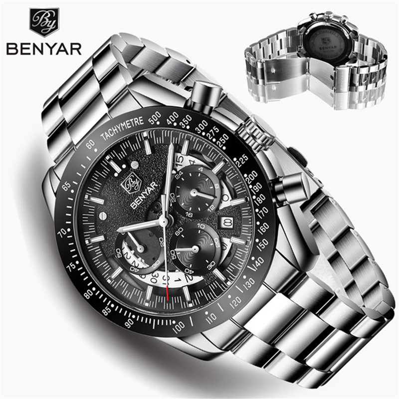 BENYAR Men's Watches Top Brand Luxury Watch Quartz Military Wristwatches Men Clock Chronograph Business Watch Relogio Masculino