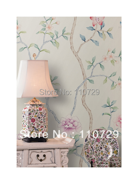 Home decoration wall material Hand painted silk wallpaper painting flowers with birds many pictures optonal diy beads painting flower cross stitch wall decoration