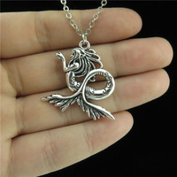 GLOWCAT Q4A67 1pc Women Friends Jewelry Girls Silver Alloy Mermaid Tail Pendant Short Chain Collar Chunky Necklace 18