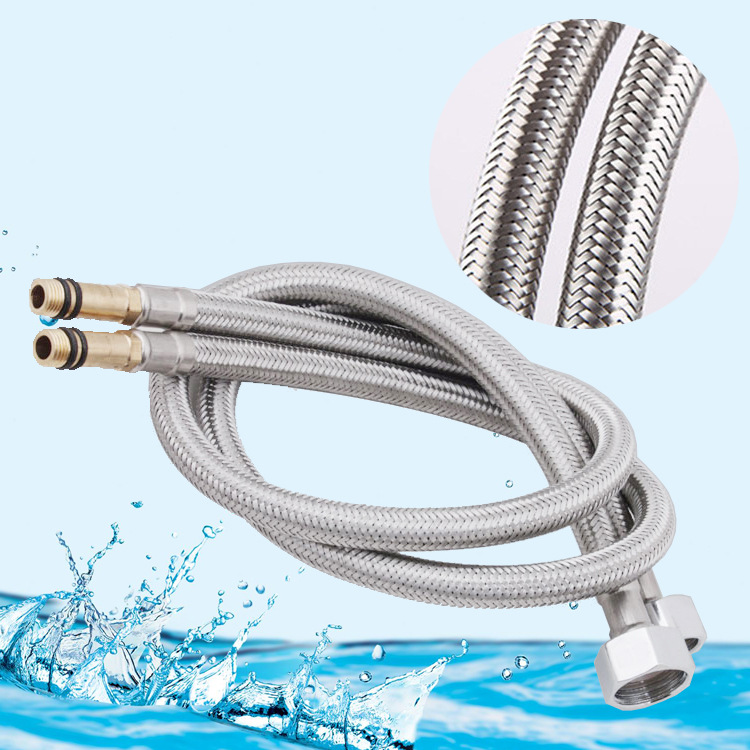 Contemporary Silver Faucet Hose 304 Stainless Steel Braided Pipe Thread Rotation Hot and Cold Faucet Single Head Inlet Pipe 60CM