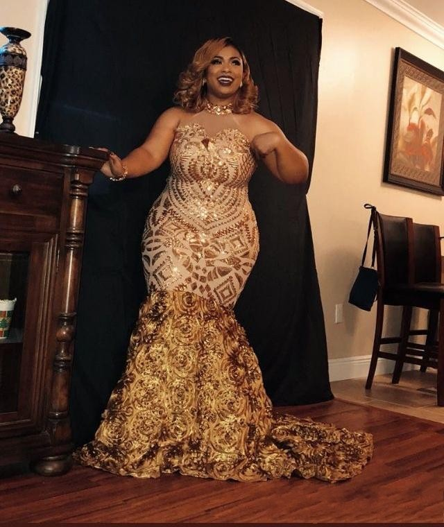 Sexy Glitter African Girls Mermaid Gold Prom Dresses Plus -9407