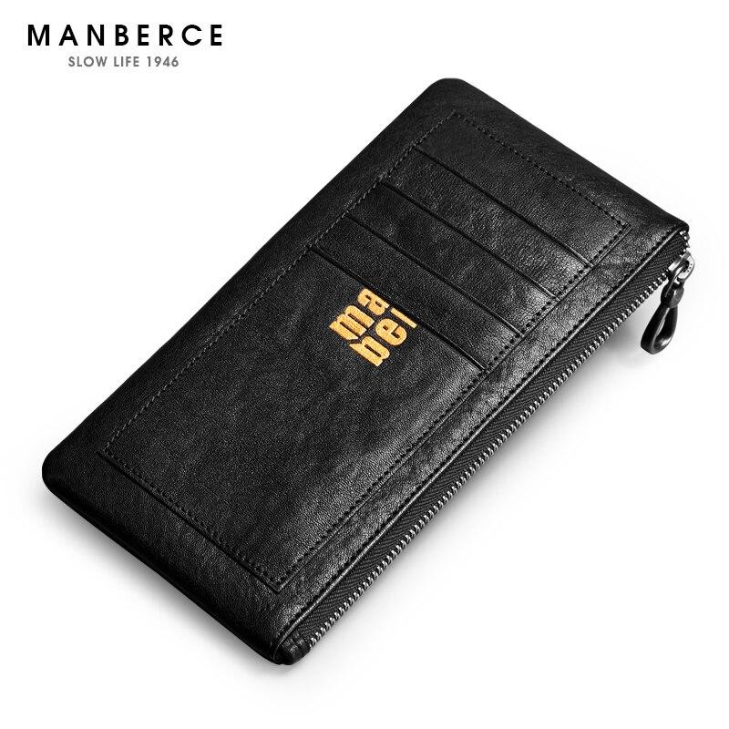 MANBERCE fashion luxury genuine leather men wallets long zipper card holder purse
