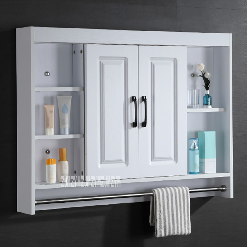 3066 Solid Wood Storage Hidden Mirror Cabinet Wall Hanging Cabinet Bathroom Locker Cabinet With Stainless Steel Towel Rack