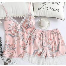 Sleep Lounge Pajama Set Sexy Satin Silk Sleepwear Women Summ