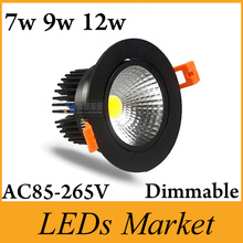 led downlight cob dimmable 7W 9W 12W Black shell AC 220V 110V spotlight ceiling lamp Warm /Cool White Free DHL