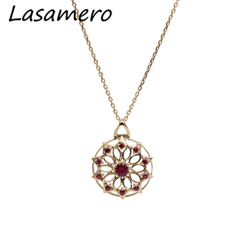 LASAMERO Round Cut 0.31CT Naturel Ruby Pierres Précieuses 18 K Rose Or Vintage Romain Style Halo Accents Pendentif Collier Chaîne