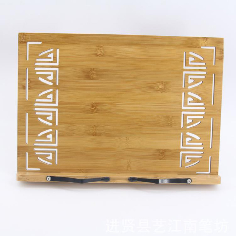 Hollowed-out style <font><b>bamboo</b></font> adjustable portable Tablet Tablature Bookend <font><b>Book</b></font> <font><b>Stand</b></font> Reading Holder <font><b>Book</b></font> Holder 2 sizes image