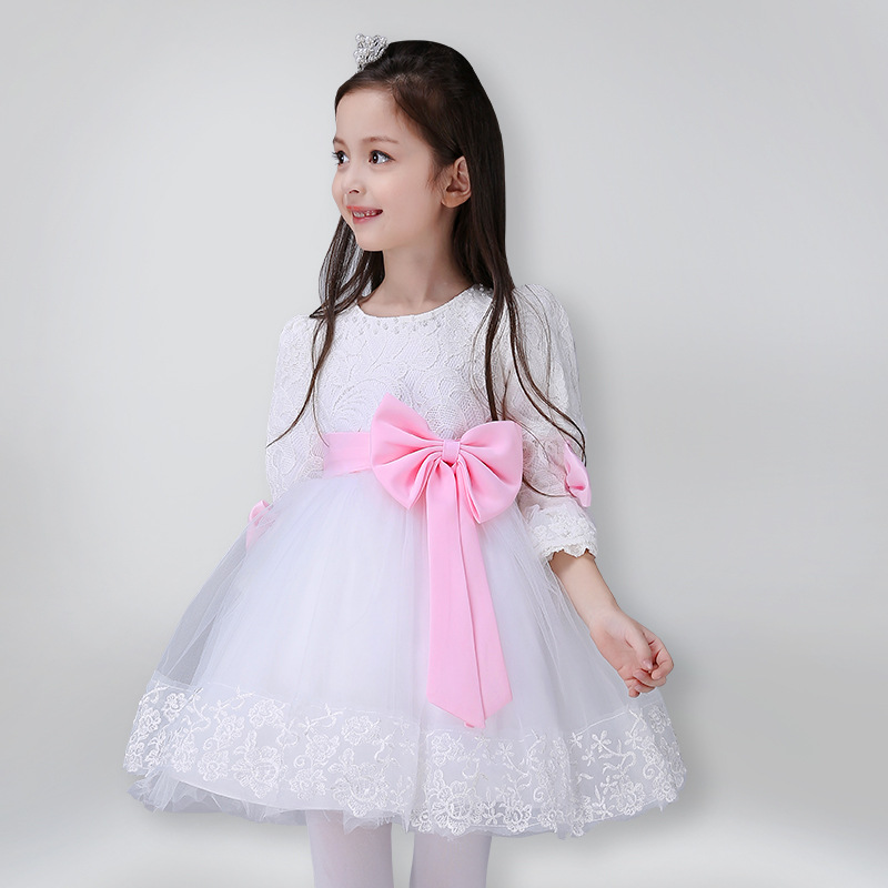 ФОТО Toddler Girl White Lovely Mesh Autumn Winter Long Sleeve Ball Gown Big Bowknot Decor Princess Show Stage Princess Formal Dress