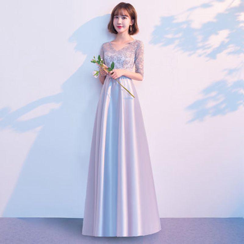 Élégante longueur de plancher gris robe de demoiselle d'honneur coréenne demi manches soeur jupe 2019 nouveau printemps Sexy de haute qualité Vestidos XS-2XL