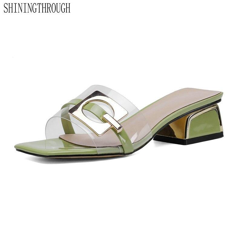 2019 nuevas zapatillas de mujer transparentes 4 cm tacones cuadrados cómodos zapatos de mujer blanco azul verde albaricoque tamaño grande 43-in Zapatillas from zapatos on AliExpress - 11.11_Double 11_Singles' Day 1
