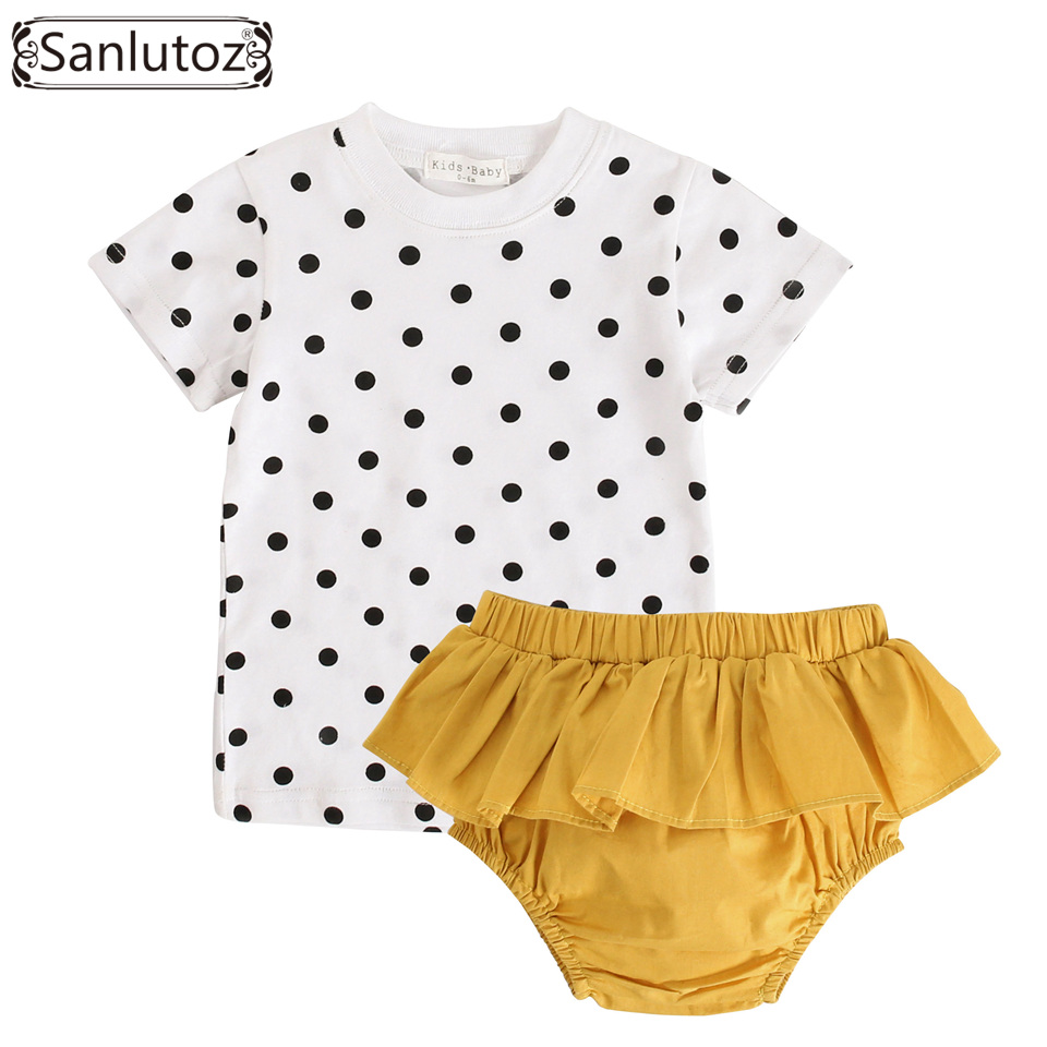 Sanlutoz Baby Girl Clothing Set Summer Baby Clothes Cotton Infant Toddler Newborn Clothes 2pcs Set Dots Tshirt + Ruffle Bloomer minnie newborn baby girl clothes gold ruffle infant bodysuit bloomer headband set winter jumpsuit toddler birthday outfits