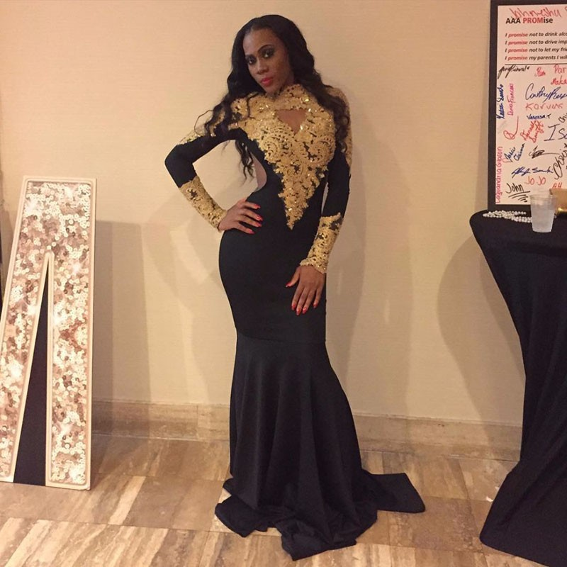 301a6ea6e82 Sexy African High Neck Black Girl Mermaid Prom Dresses 2019 Sweep Train  Gold Appliques Lace Long Sleeve Prom Dress Party Gown