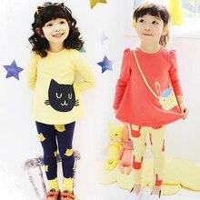 цена Baby Girls Clothing Set Spring Autumn Kids Tracksuit Cotton Cartoon T-shirt+ Pants 2Pcs Children Clothes Suit 3 4 5 6 7 8 Years онлайн в 2017 году