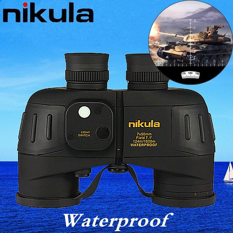 Nikula binocular 7x50 Military Powerful binoculars Rangefinder with digital Compass telescope Night Vision tactical waterproof