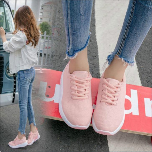 98d9f96c5 LZJ Fast delivery Women casual shoes fashion breathable Walking mesh lace  up flat shoes sneakers women 2018 tenis feminino